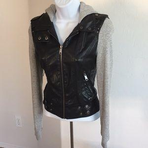 Full Tilt Vegan Faux Leather Moto Hoodie Jacket S